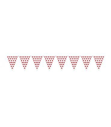 Gallardete Blanco puntos rojos