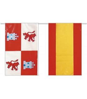 Bandera de plástico España con Castila Leon